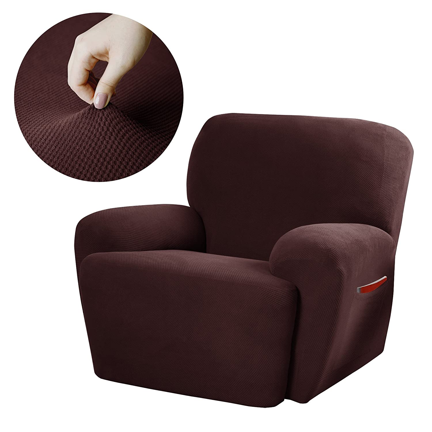 Maytex Pixel Stretch 4-Piece Slipcover Recliner, Chocolate 4300319