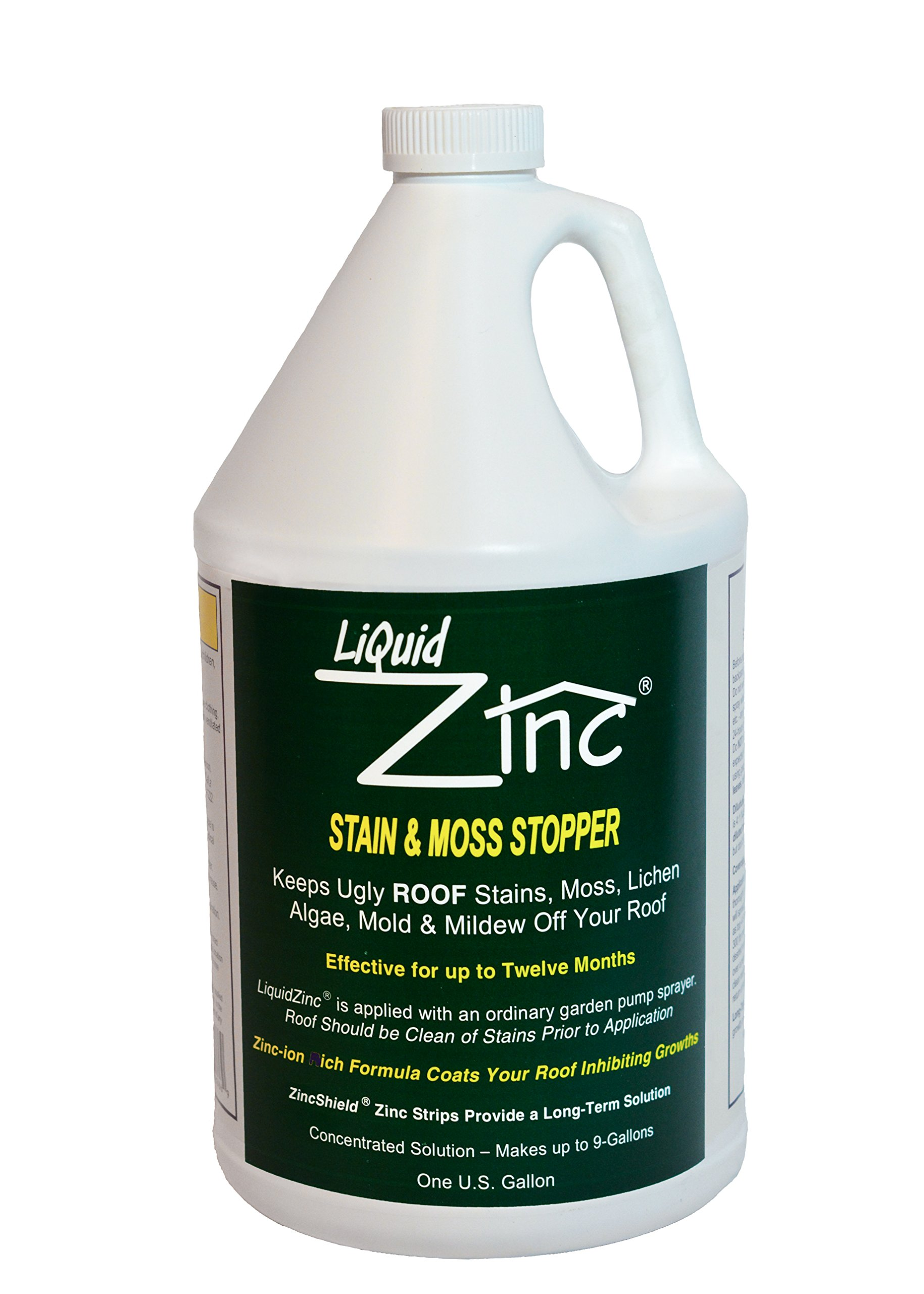 LiquidZinc Liquid Roof Protection for Preventing Ugly Roof Stains from Moss, Algae, Fungus, and Mildew (1 Gallon) Made in the USA