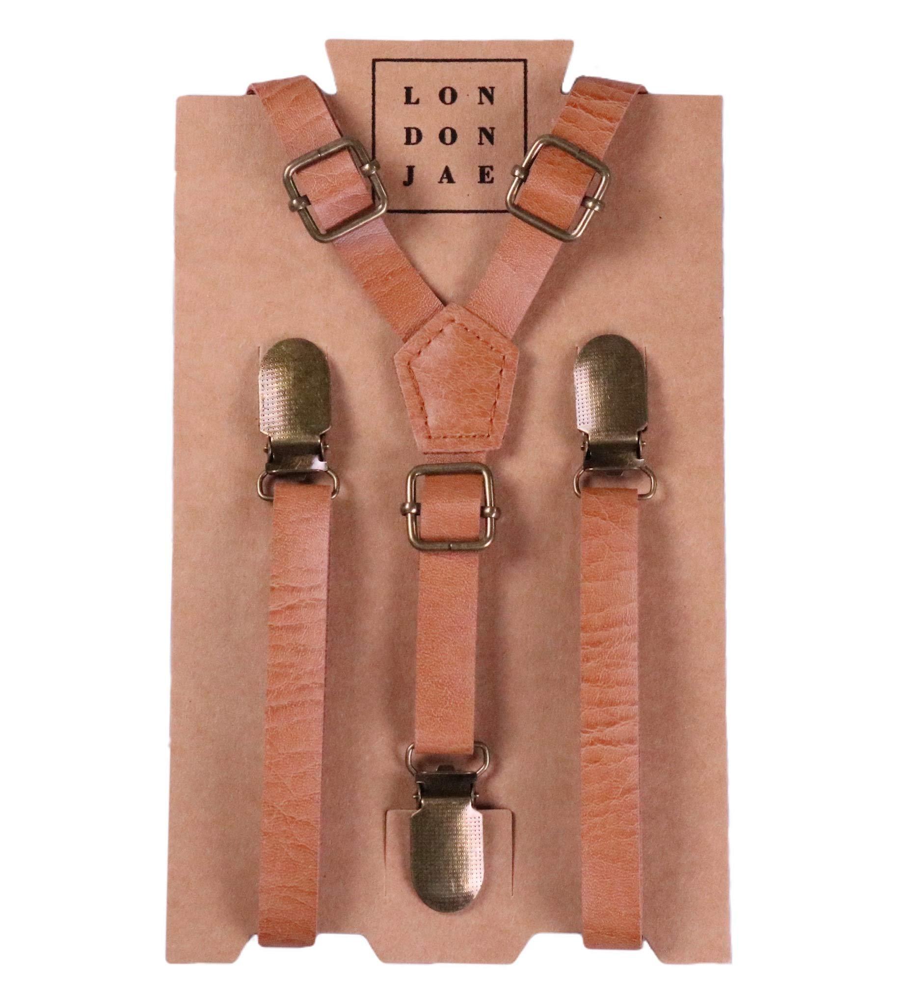 Suspenders for Kids - Adjustable Wedding Ring Bearer Skinny Leather Like Suspenders for Kids Ages 2 mos to 17 Years - By London Jae Apparel (Teen, Vintage Tan)
