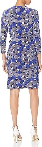 Anne Klein Damska Classic V-Neck Faux Wrap Dress Kleid: Odzież