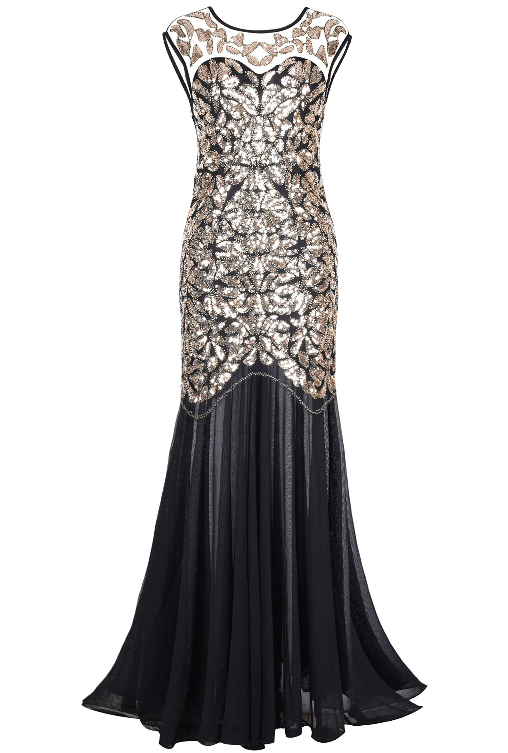 PrettyGuide Women 's 1920s Black Sequin Gatsby Maxi Long Evening Prom Dress, Gold - 10/12