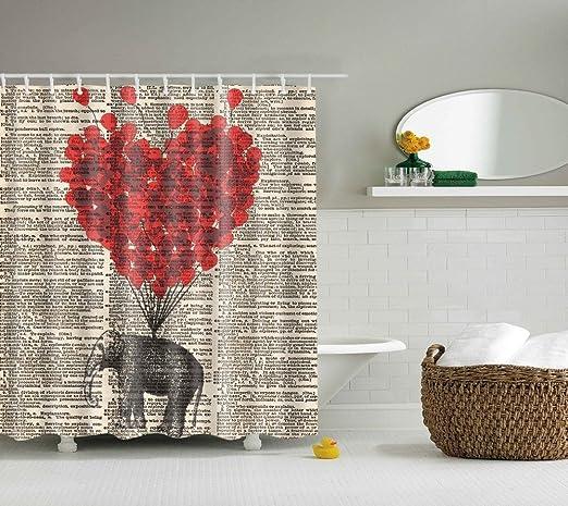 12 hooks Bathroom Shower Curtain Elephant Heart-shaped Floral Design Curtains