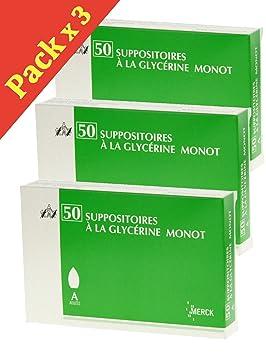 Merck - Merck suppositoires glicerina (Monot 50 suppositoires - - Juego de 3 cajas: Amazon.es: Salud y cuidado personal