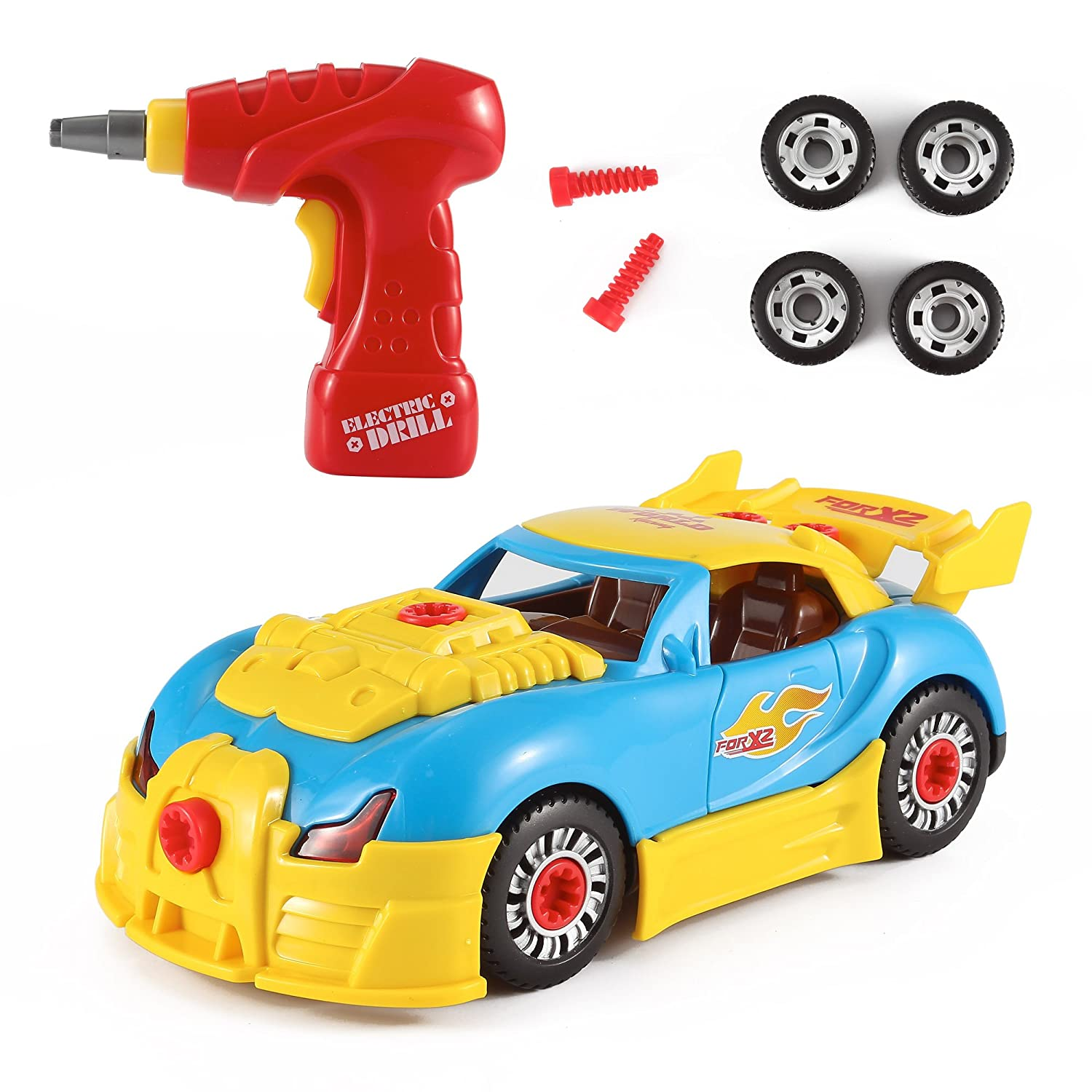amazoncom liberty imports world racing car take a part toy for kids with 30 take apart pieces tool drill lights and sounds toys games