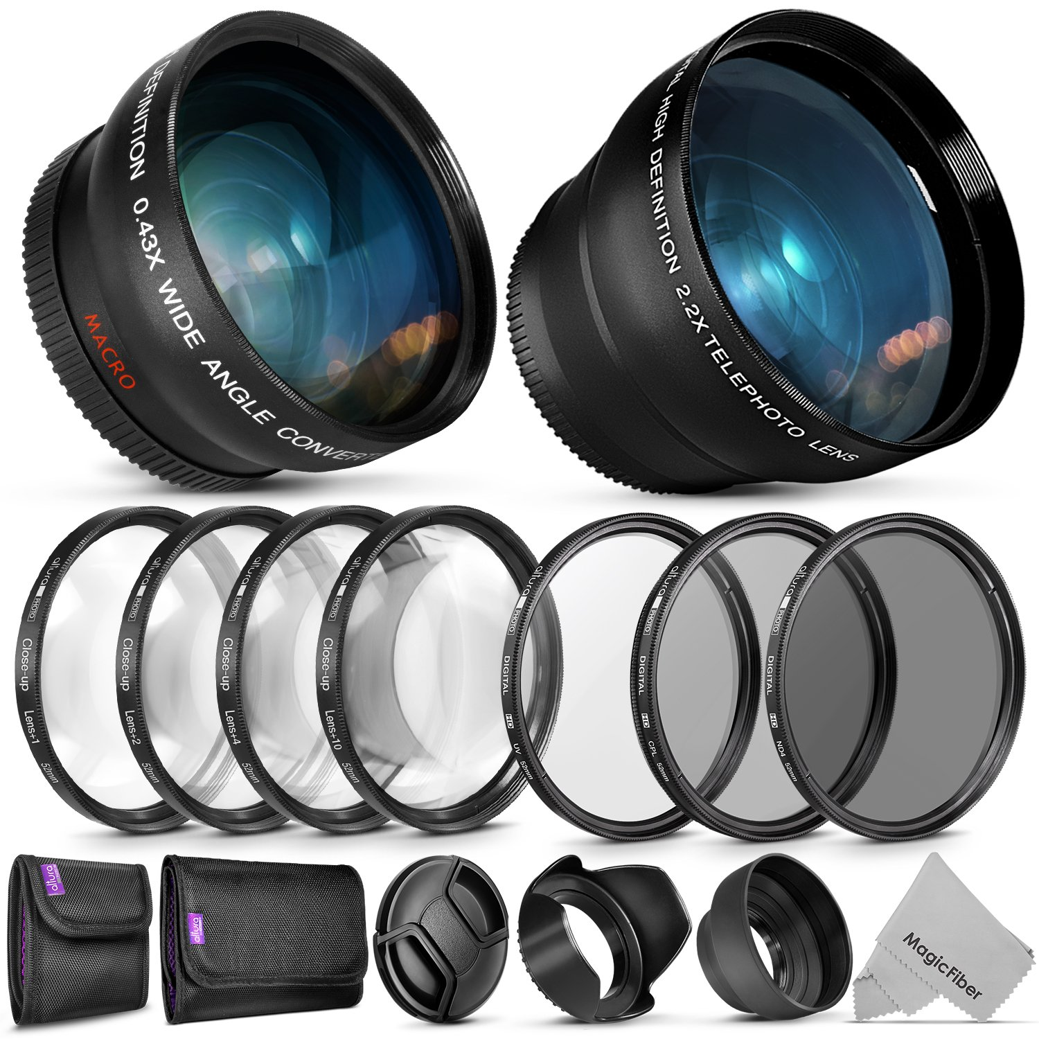52mm Starter Accessory Kit for Nikon DSLR Bundle with Vivitar Wide Angle and Telephoto Lenses