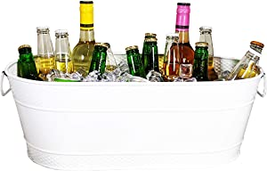 BREKX Colt White Hammered Galvanized Beverage Tub, Rust-Resistant and Leak-Proof Ice and Drink Bucket with Handles, 15 Quarts