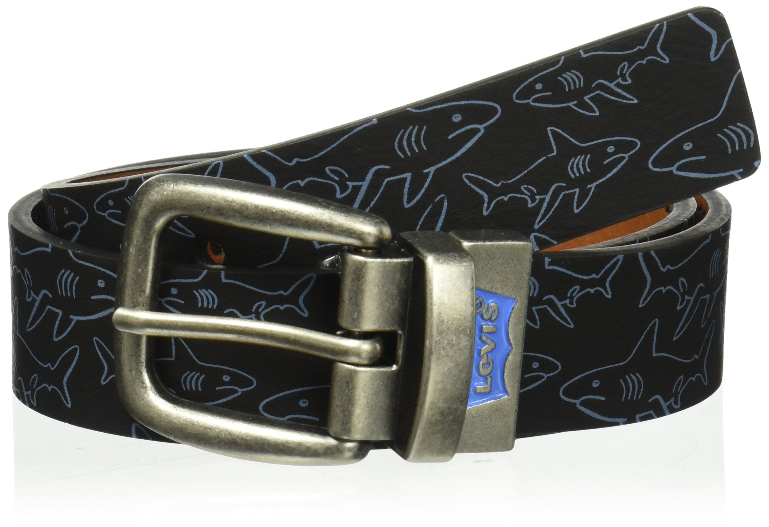 Levi's Big Boy's 1 1/4'' Reversible Jean Belt with Print , Black/Sharks, Small