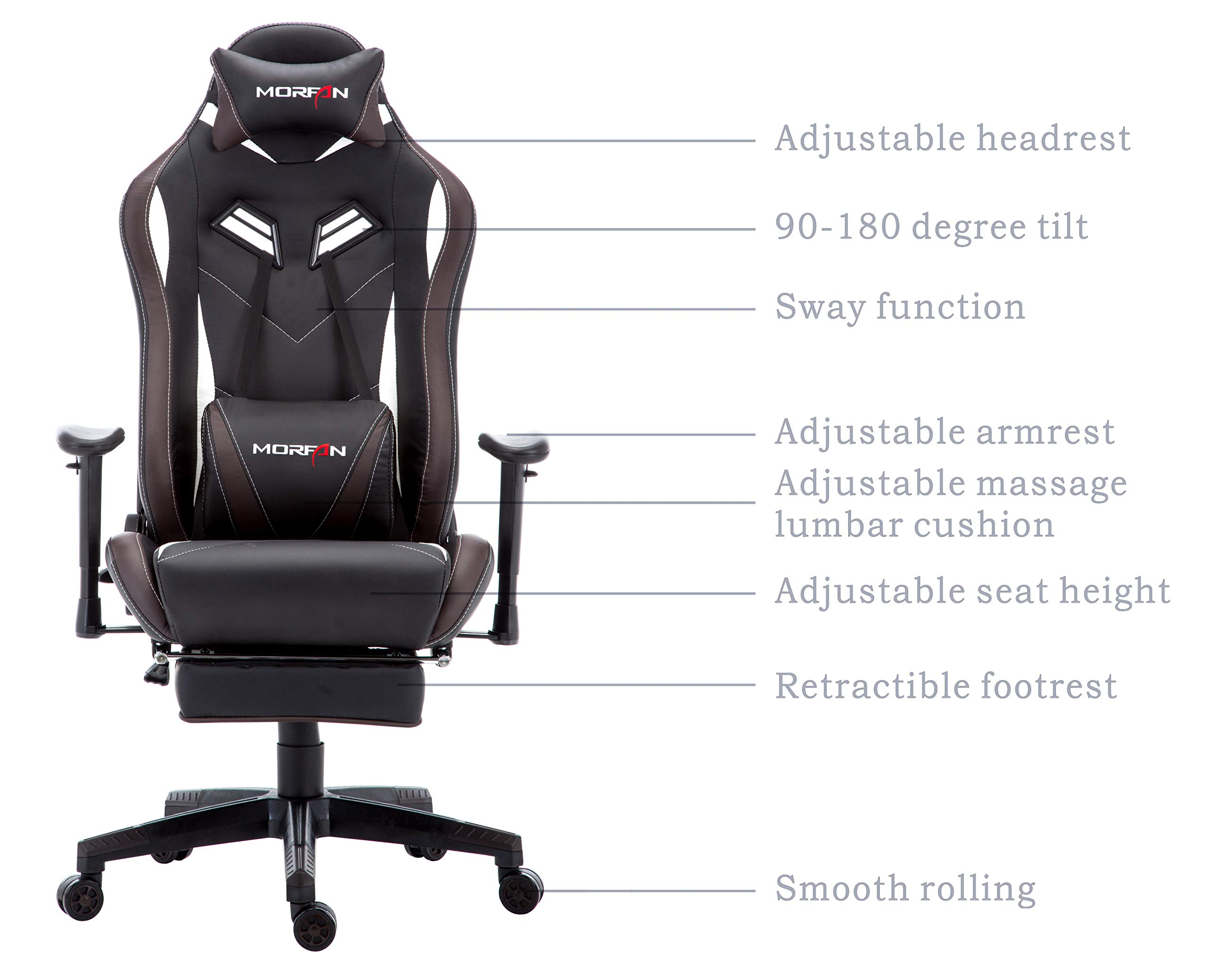Morfan Gaming Chair Large Size Massage Function Ergonomic Racing Style PC Computer Office Chair with Retractable Footrest & Adjustable Lumbar and Headrest Pillows (Black/Brown) by MORFAN (Image #6)