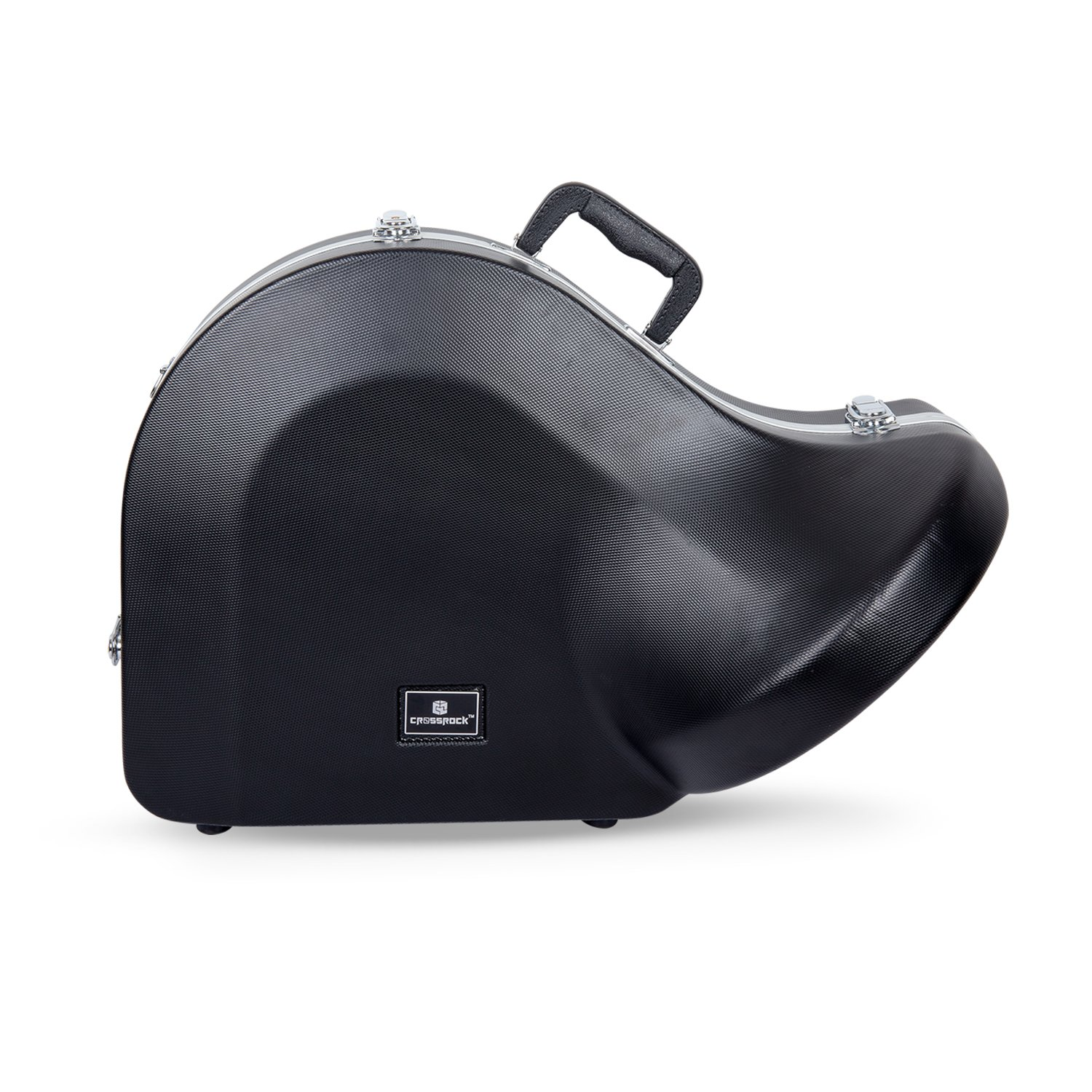 Crossrock CRA860FHBK French Horn, Contoured ABS Molded Hard Shell Case with Padded Strap in Black