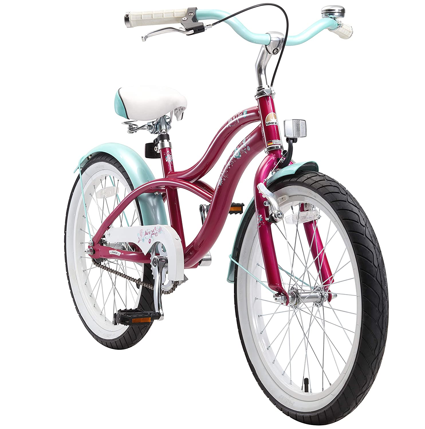 BIKESTAR Premium Safety Sport Kids Bike Bicycle with sidestand and accessories for age 6 year old children 20 Inch Cruiser Edition for girls
