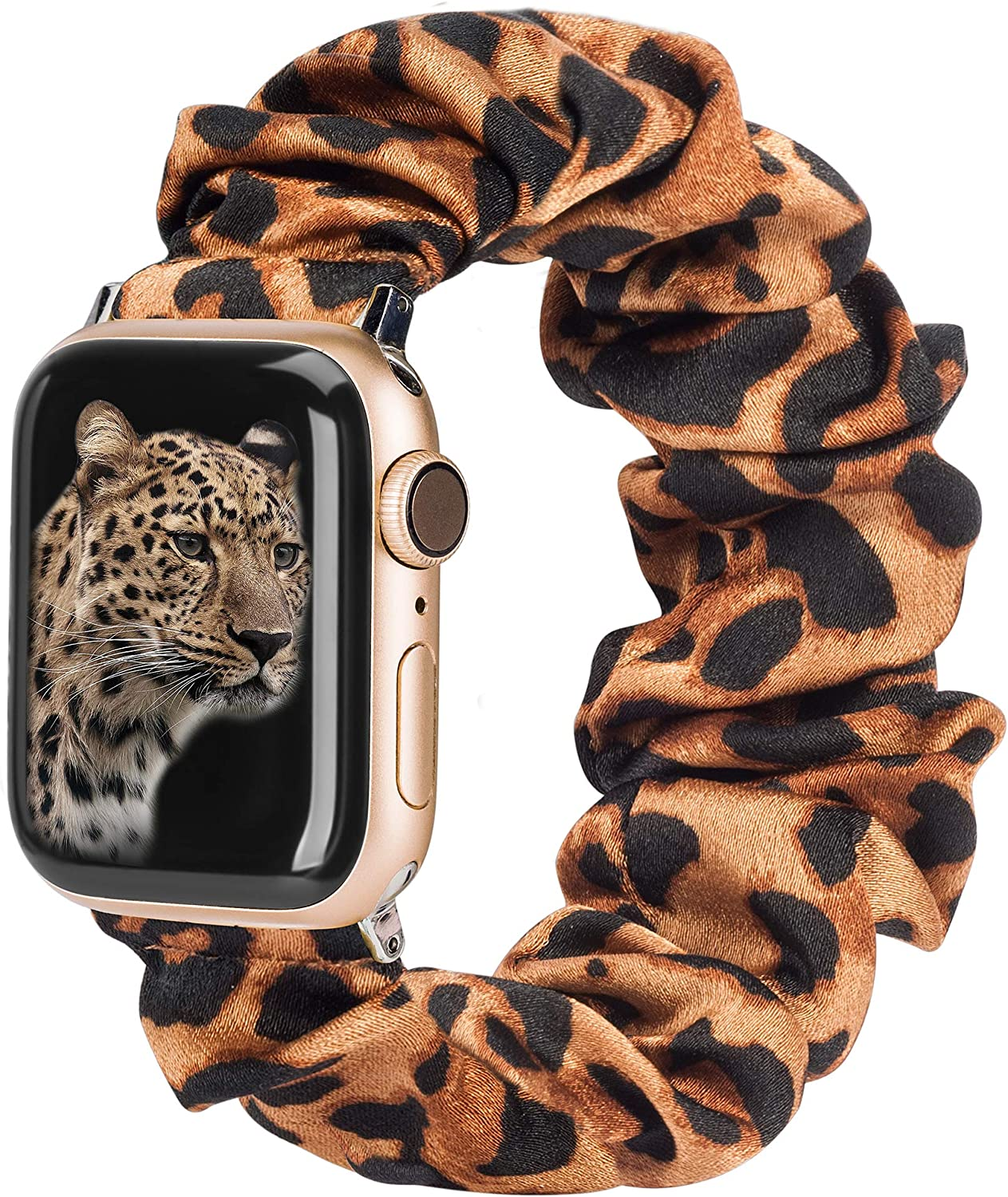 TOYOUTHS Compatible with Apple Watch Band Scrunchies 42mm Cloth Soft Pattern Printed Fabric Bracelet Women Rose Gold IWatch Cute Elastic Scrunchy Bands 44mm Series SE 6 5 4 3 2 1(Orange/Leopard L)