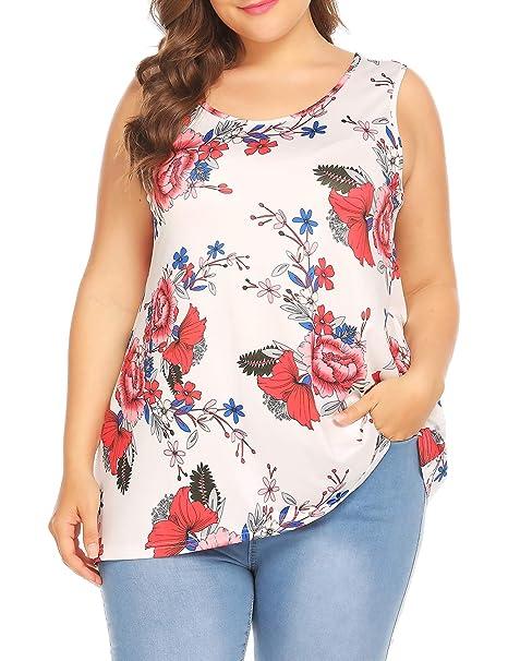 cf5c166b242 Plus Size Women's Loose Casual Sleeveless Floral Print Tank Top T-Shirt  Blouse