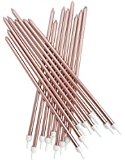 rose gold tall birthday cake candles - 18cm pack of 16