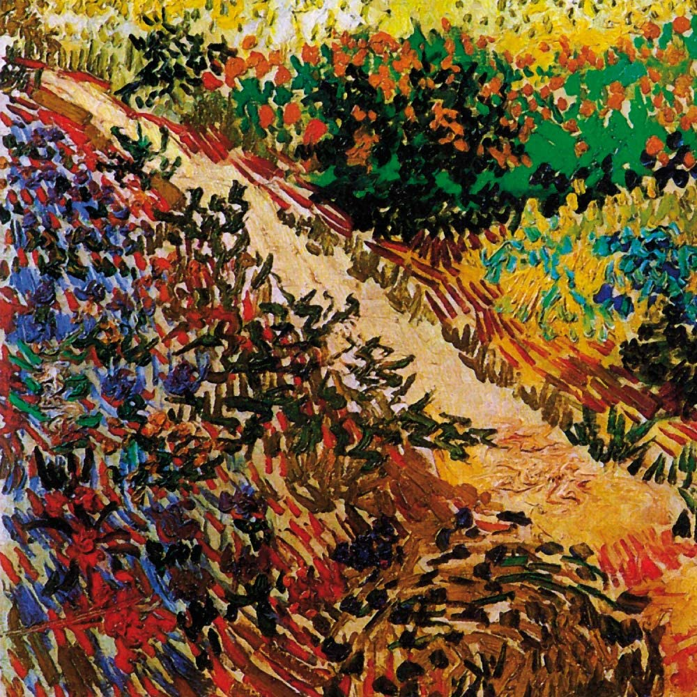 1art1 Vincent Van Gogh Poster Art Print - Blossoming Garden and Path, 1888, Detail (28 x 28 inches)