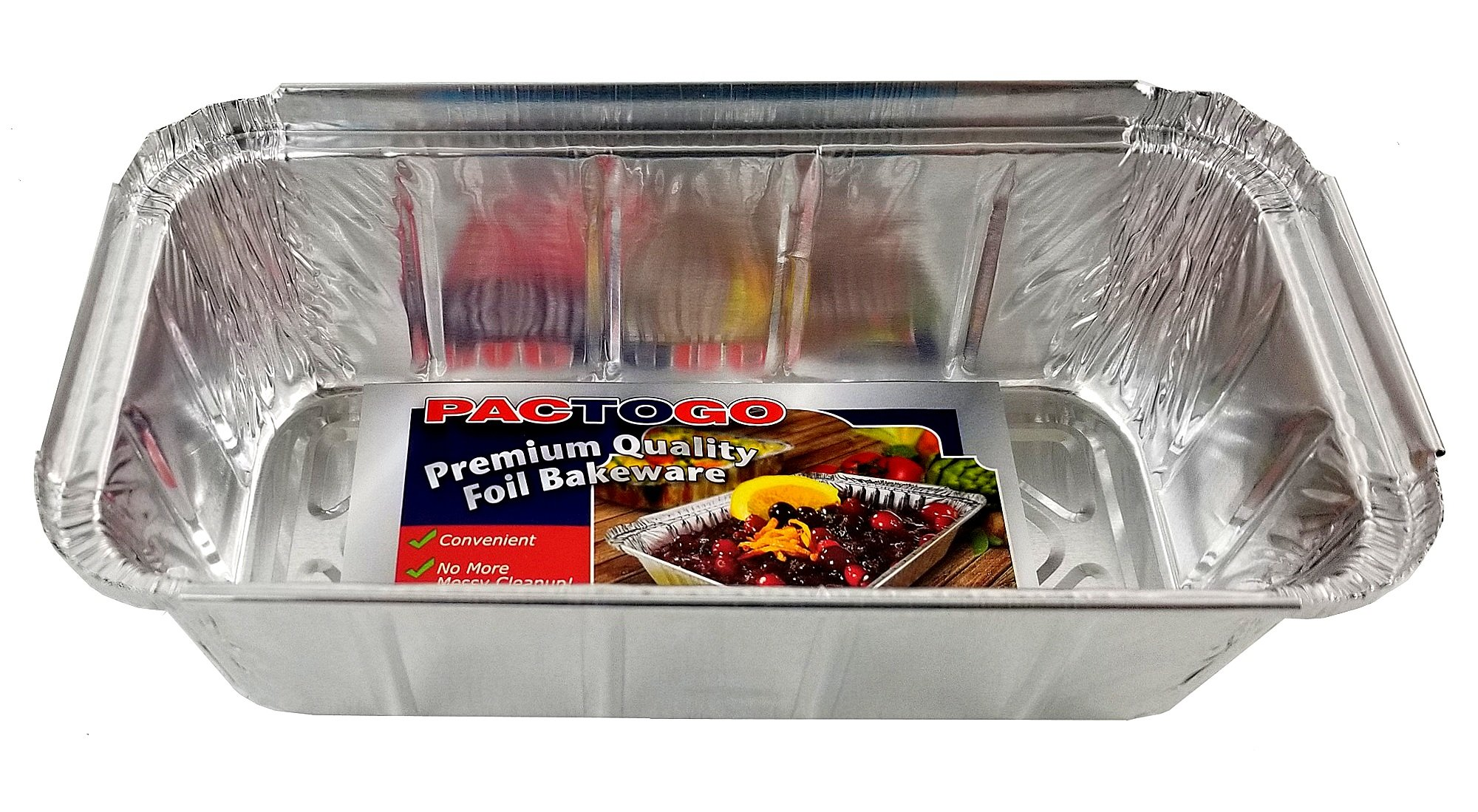 Pactogo 1 1/2 lb. IVC Disposable Aluminum Foil Loaf Bread Pan w/Board Lid (8'' x 4.1'' x 2.2'') - Heavy Duty Made in USA (Pack of 50 Sets) by PACTOGO (Image #2)