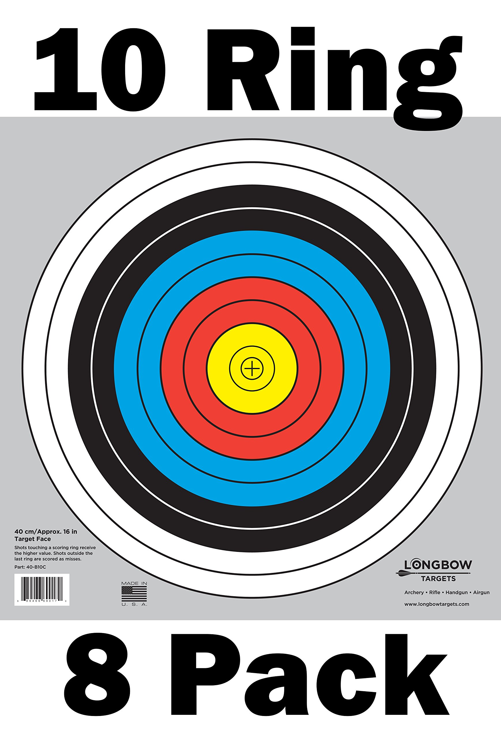 Archery 40cm & 80cm Targets by Longbow (8 Pack, 40cm/approx 17'' (10 Ring)) by Longbow Targets