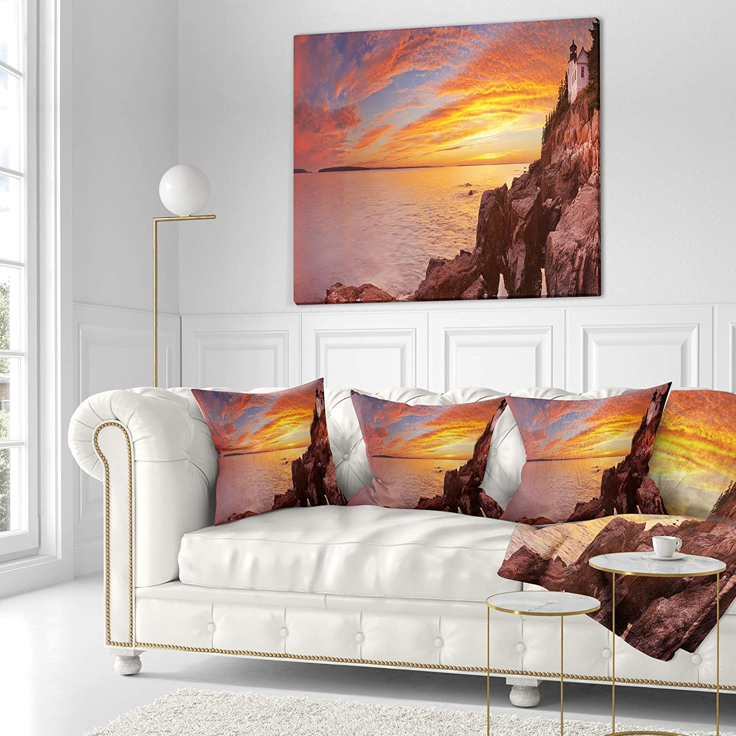 x 26 in Insert Printed On Both Side Sofa Throw Pillow 26 in in Designart CU11557-26-26 Bass Harbor Head Lighthouse Panorama Modern Seascape Cushion Cover for Living Room