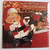 Merry Christmas Guinea Pig Santa with mince pie Christmas Card glitter detailing
