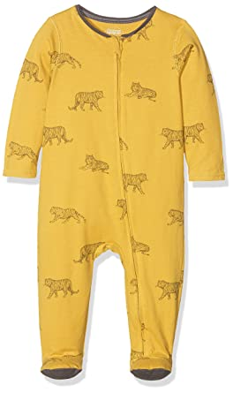 798b7bc92 Mamas and Papas Baby Boys' Tiger Zip All in One Sleepsuits, Mustard, Newborn