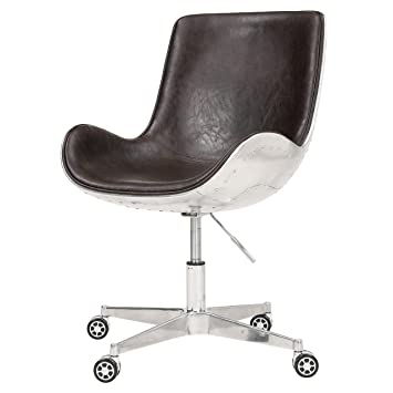 New Pacific Direct Abner PU Leather Swivel Chair,Aluminum Legs,Distressed  Java Brown