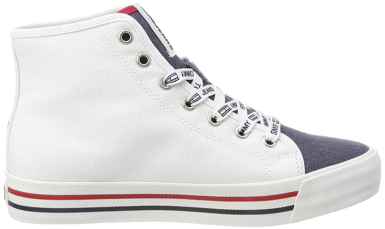 Hilfiger Denim Tommy Damen Tommy Denim Jeans Casual Mid Cut Hohe Sneaker Weiß (Rwb 020) 38306f