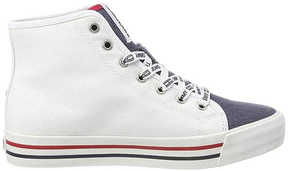 Hilfiger Denim Tommy Jeans Casual Mid Cut, Zapatillas Altas para Mujer, Blanco (RWB 020), 36 EU