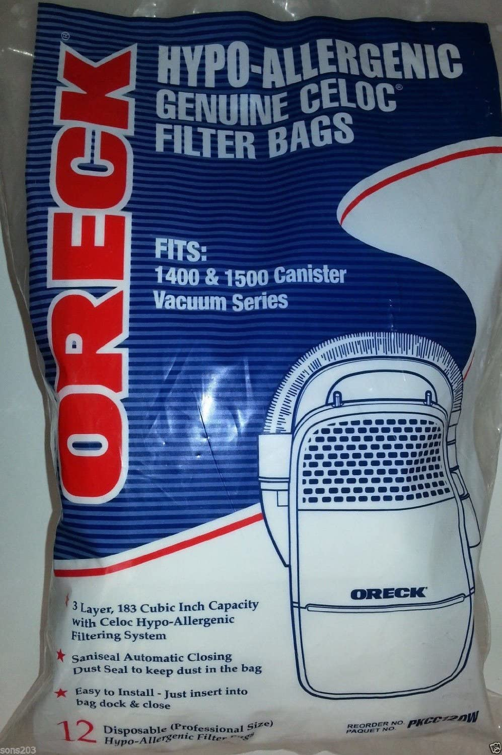 12-Pack Oreck Edge Canister Hypo-Allergenic Vacuum Bags - PKCC12DW Fits 1400 & 1500 Series