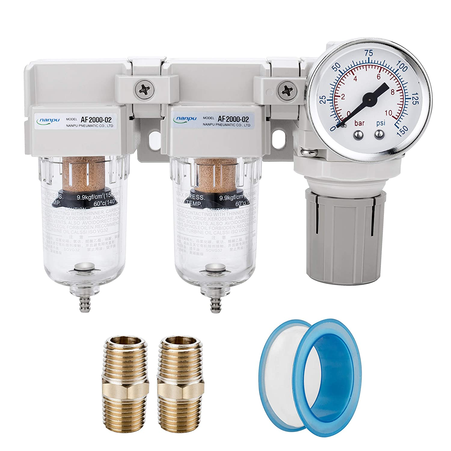 """NANPU DFR-02 1/4"""" NPT Air Drying System - Double Air Filters, Air Pressure Regulator Combo - Semi-Auto Drain, Poly Bowl"""