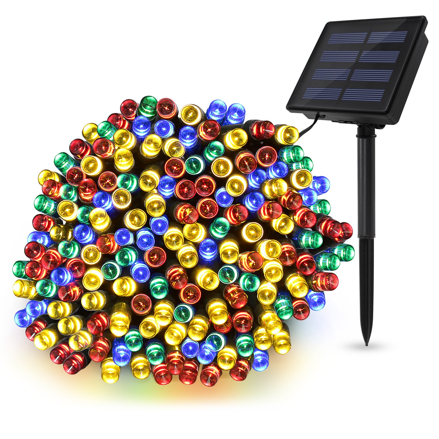 TECBOX Solar String Light String 72ft 200 LED Dimmable Fairy String Lights Ambiance lighting for Outdoor, Indoor Weatherproof (Multi Color)