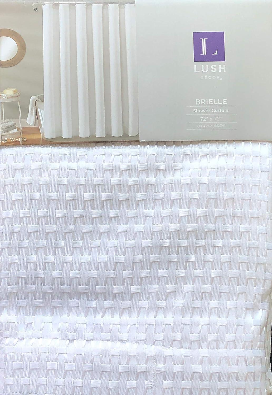 Lush Decor Fabric Shower Curtain Geometric Mesh Texture Pattern in White with White Thread - Brielle, White