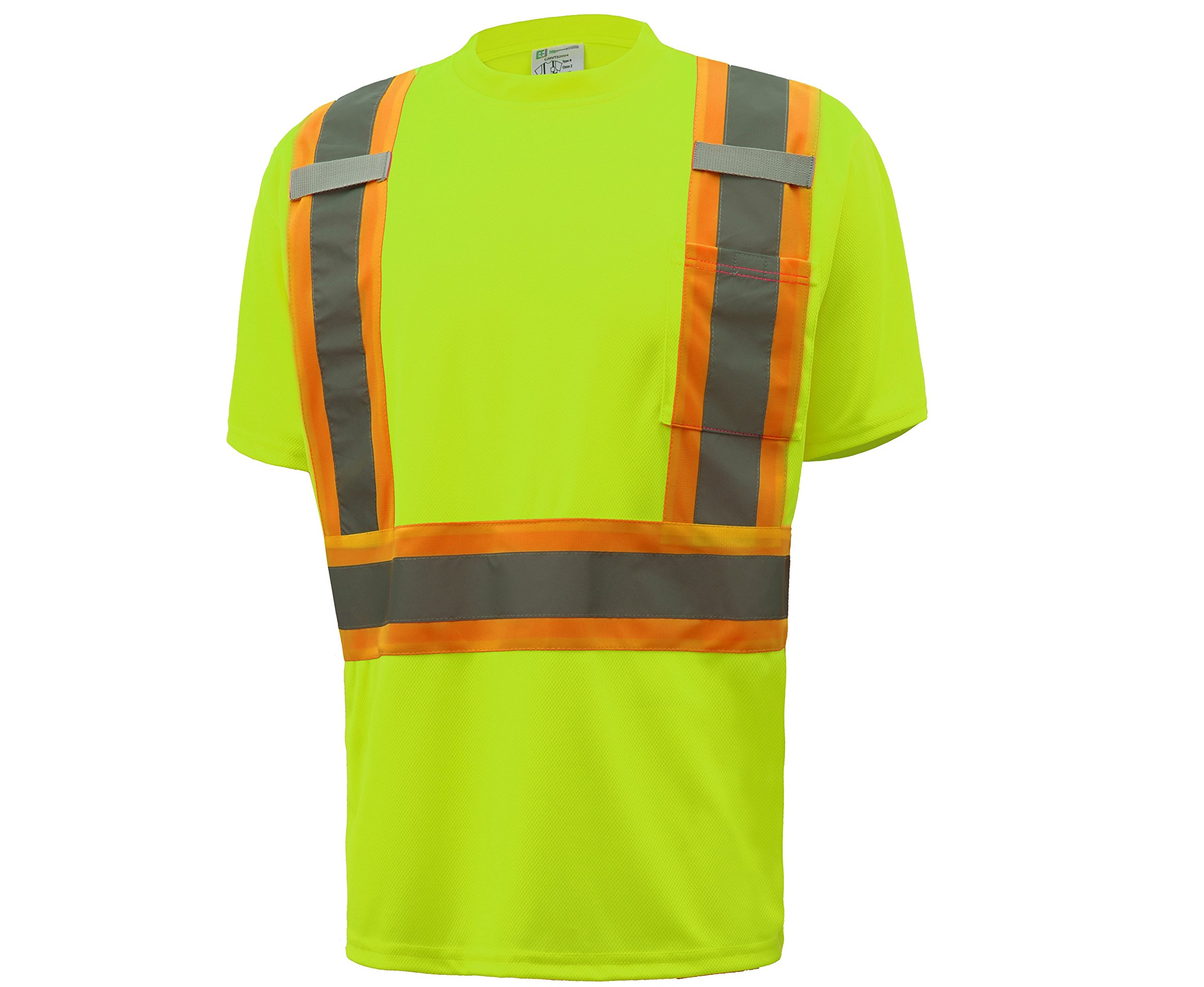 CJ Safety CJHVTS2004 ANSI Class 2 Two-tone High Vis Short Sleeve Safety Shirt Moisture Wicking Mesh (Medium, Green)