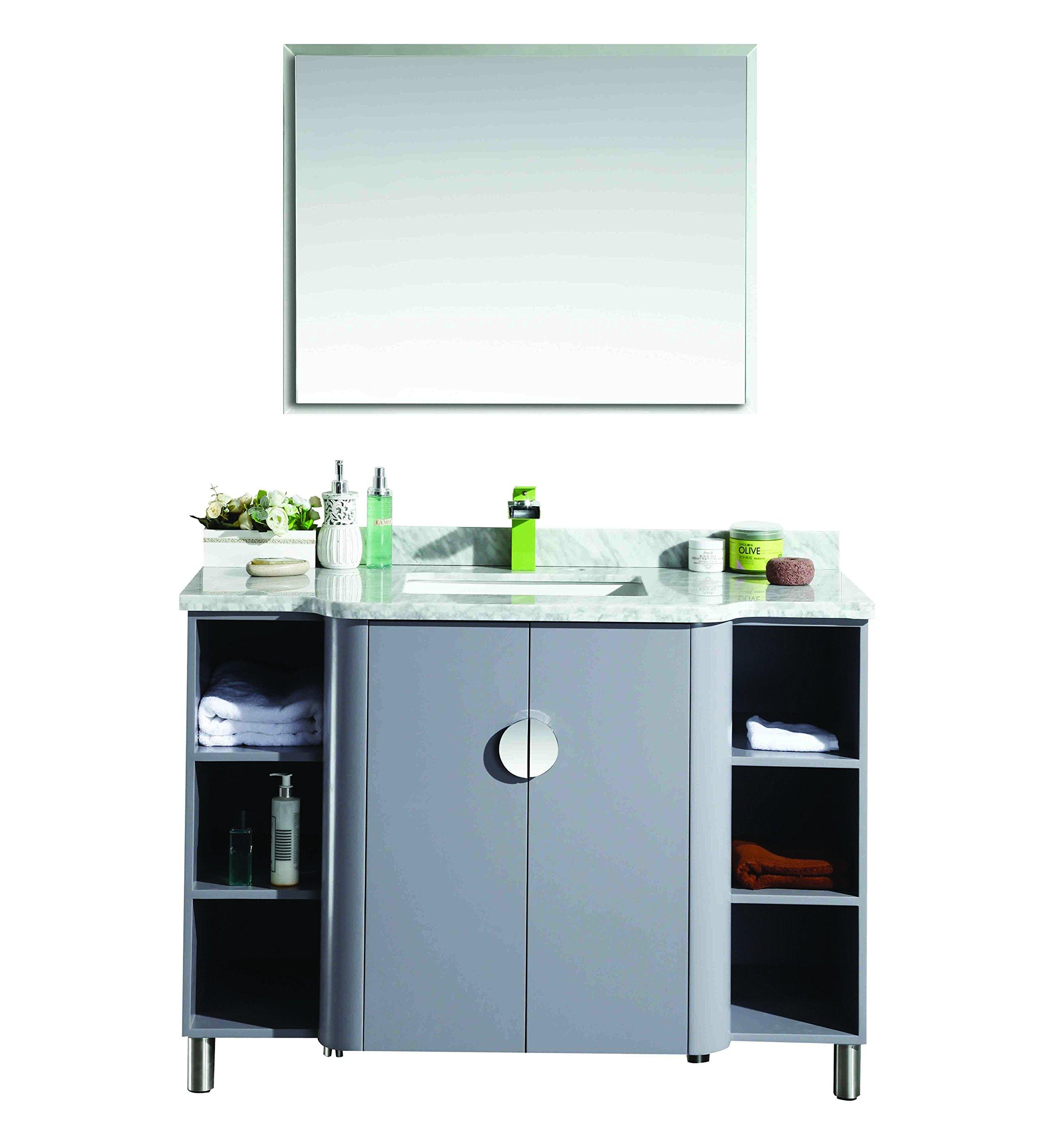 Eviva EVVN800-48GR Plus Vienna 48'' Satin Luxuries Modern Bathroom Vanity With Carrera Marble Top & Porcelain Sink, Grey by Eviva (Image #1)