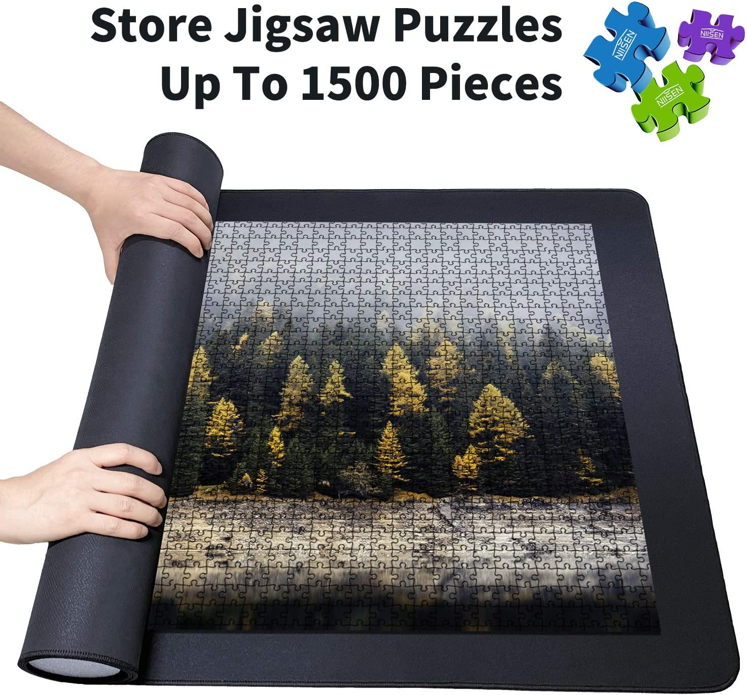 Jigsaw Puzzle Mat and Bag Puzzle Saver Premium Puzzle Mat Roll Up Smooth Fabric Top and Non-Slip Rubber Bottom Foam Roller and Dual Material Mat Fits 1500 Piece Puzzles 26 x 47