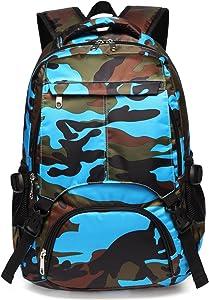 Boys Backpacks for Kids Kindergarten Camo Elementary School Bags Waterproof Lightweight Gifts Presents for Kids (Camouflage Blue)