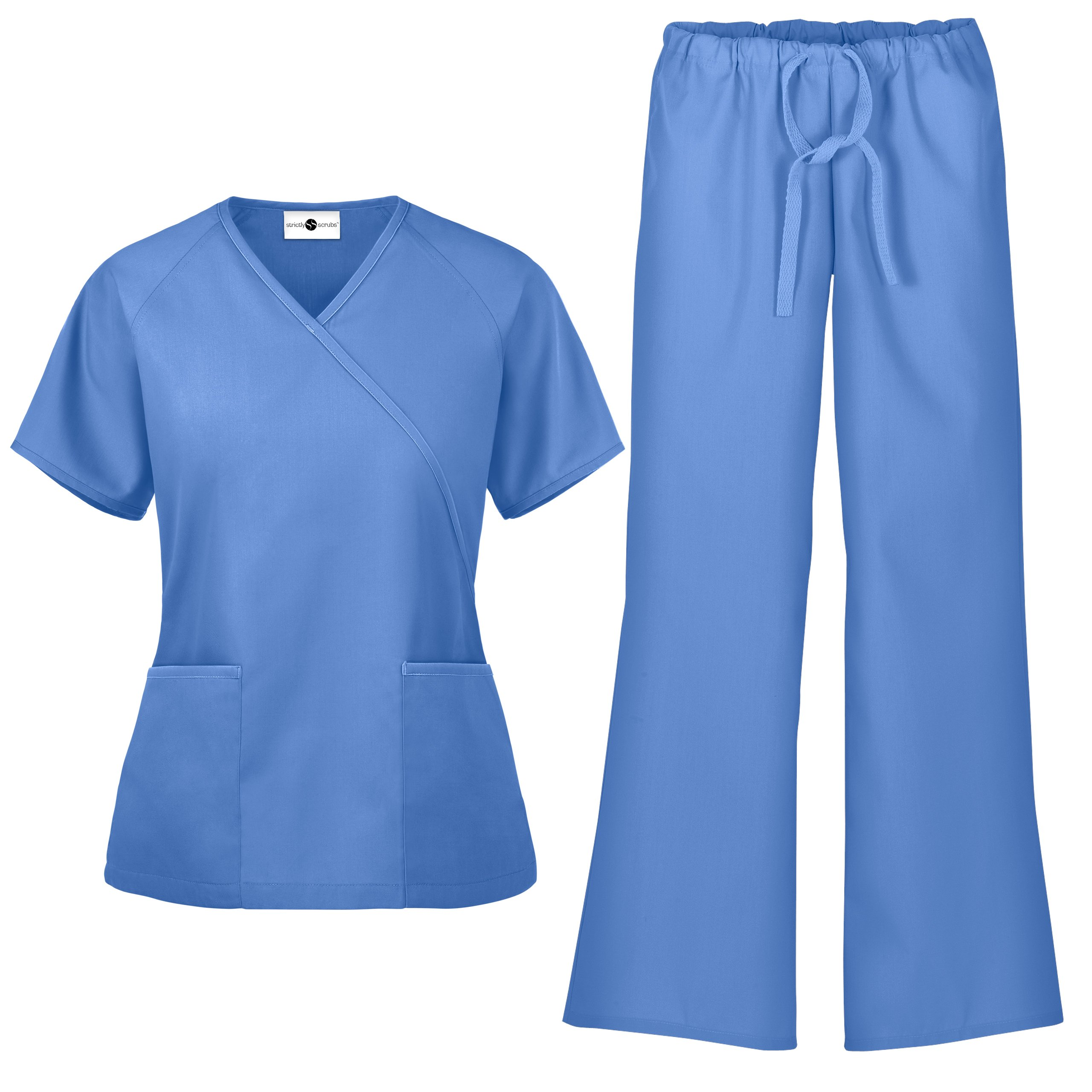 Women's Scrub Set/Medical Mock Wrap Top & Drawstring Scrub Pant (XS-3X, 7 Colors) (Large, Ceil)