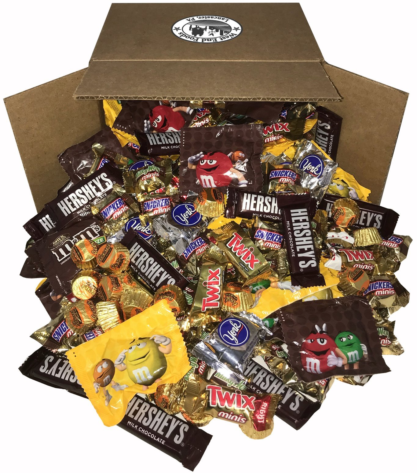 Chocolate Candy Assorted (8 Pounds) Snickers Bar, M&Ms Milk, Peanuts, Reese's, Milky Way, Twix, Hershey, York Mini Size Bulk Snacks for Halloween by West End Foods (Image #1)