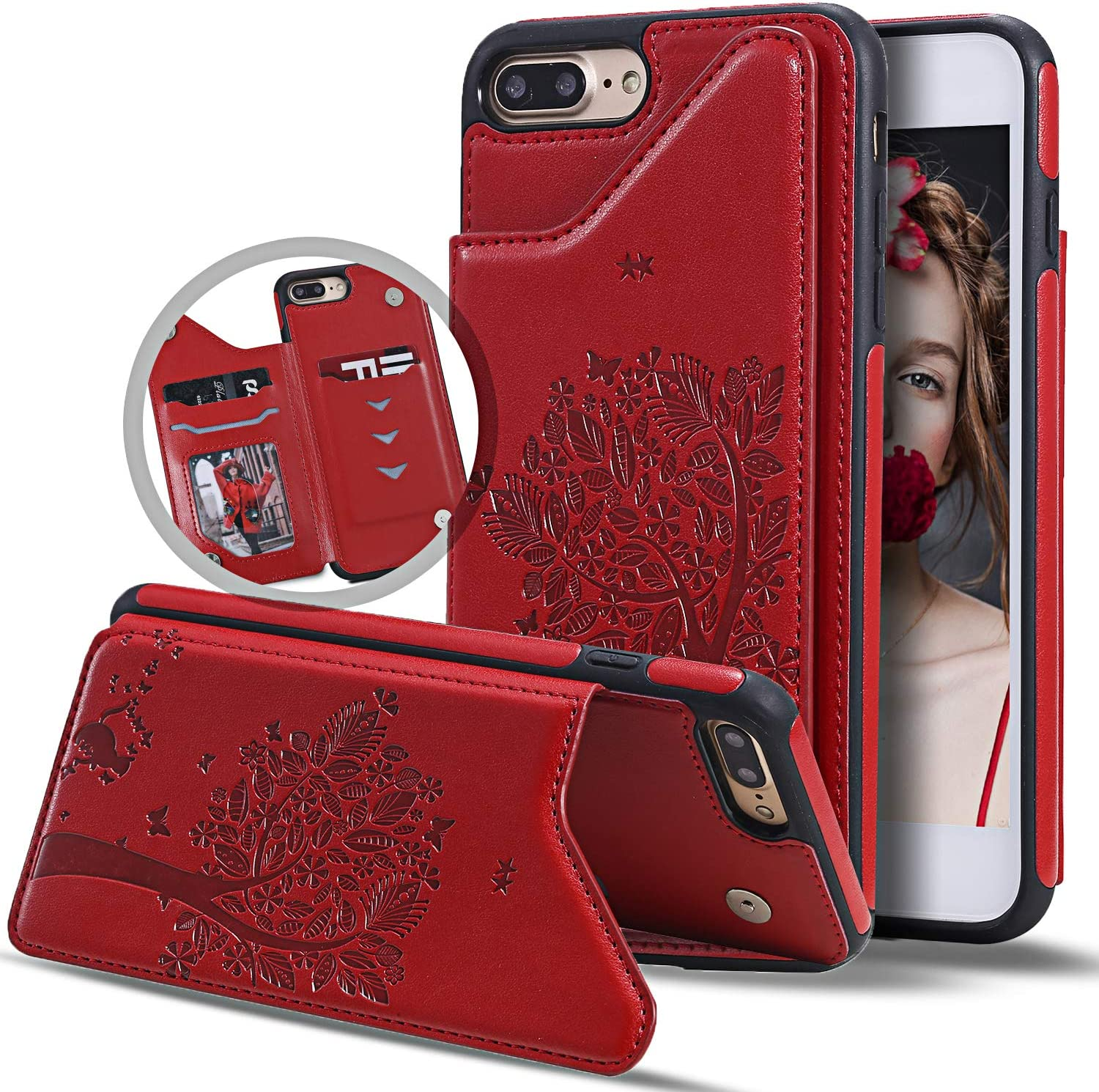 Vodico iPhone 8 Plus Wallet Case,iPhone 7 Plus Case with Card Holder for Women, Durable Folio Flip Slim Fit Vintage Leather Wallet Back Magnetic Closure Cover with Credit Card Slots&Stand (Wine Red)