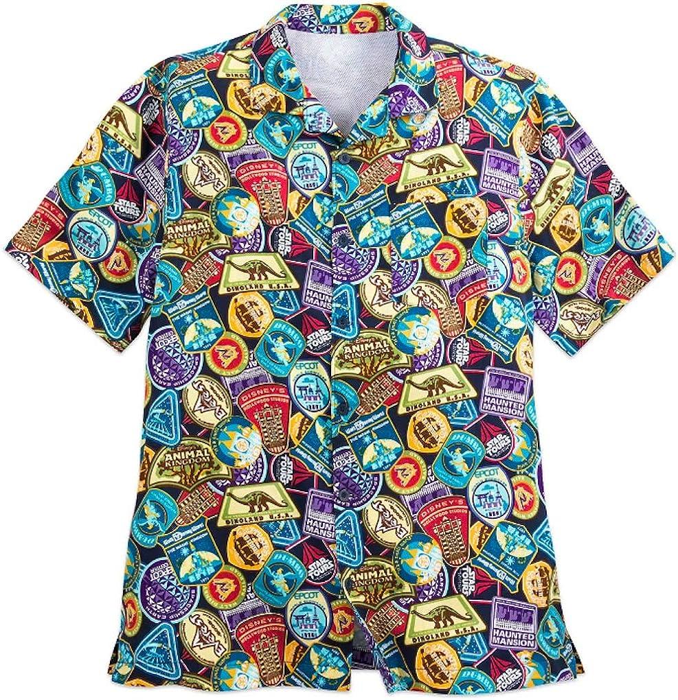 Adventureland Disney Inspired Mens Button Down Short Sleeve Shirt