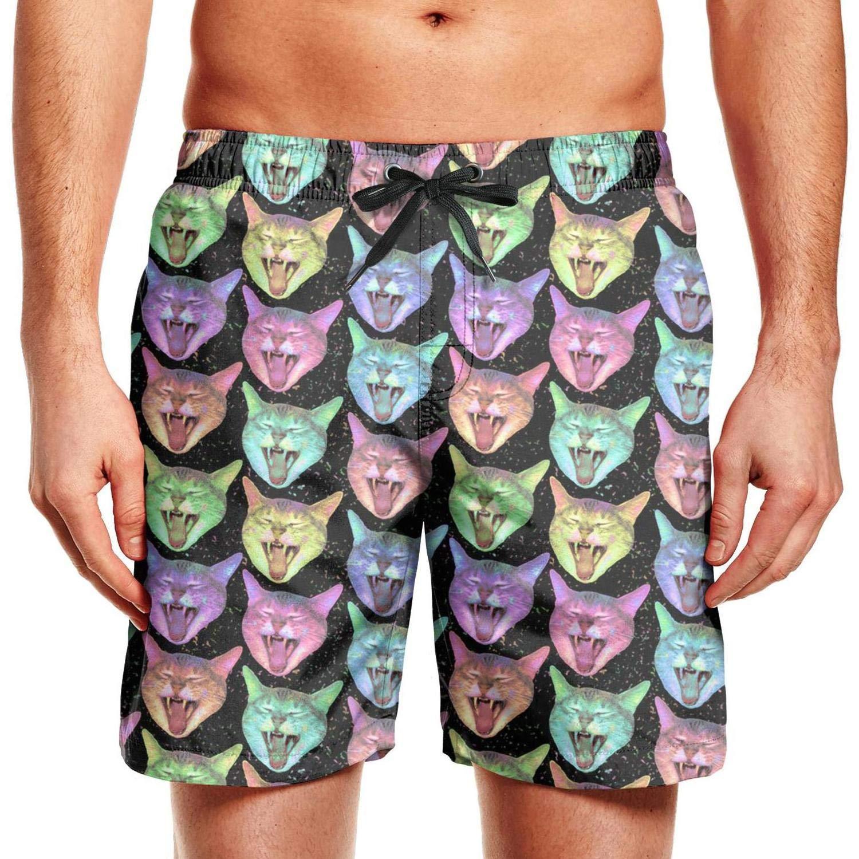 CCBING Neon Rainbow Kawaii Kitty Cat Galaxy Printed Mens Summer Beach Swim Trunk 3D Printed Swimwear