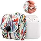 MoKo AirPods Case, Snap Closure Protective Cover Carrying Pouch Pocket, with Holding Strap, for Apple AirPods Charging Case - Lucky Tree
