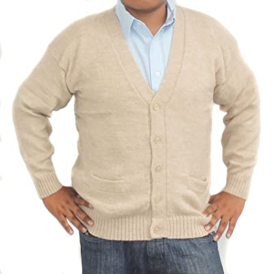 ALPACA CARDIGAN GOLF SWEATER JERSEY V neck buttons and Pockets made in PERU BEIGE at Men's Clothing store