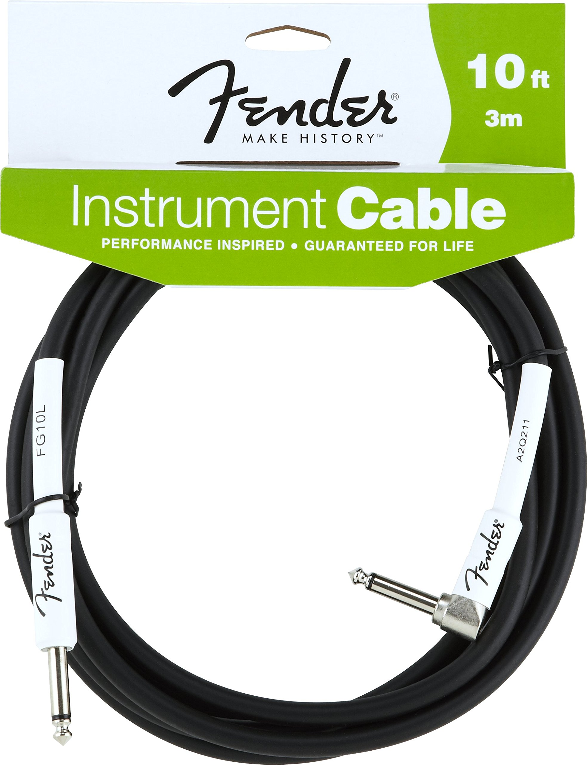 Fender Performance Series Instrument Cables (Straight-Right Angle) for electric guitar, bass guitar, electric mandolin, pro audio