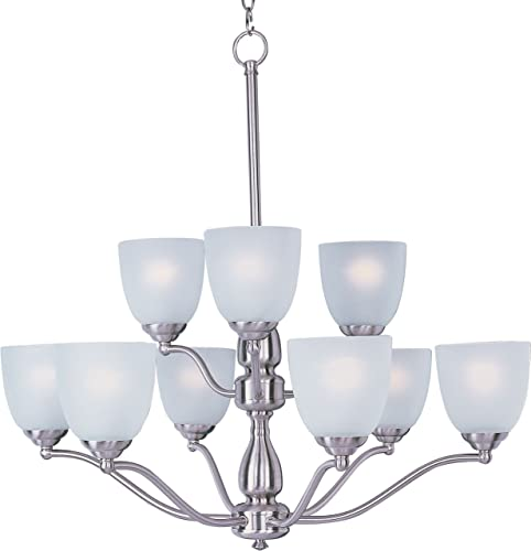 Maxim 10066FTSN Stefan Frosted Glass Chandelier, 9-Light 540 Total Watts, 30 H x 30 W, Satin Nickel