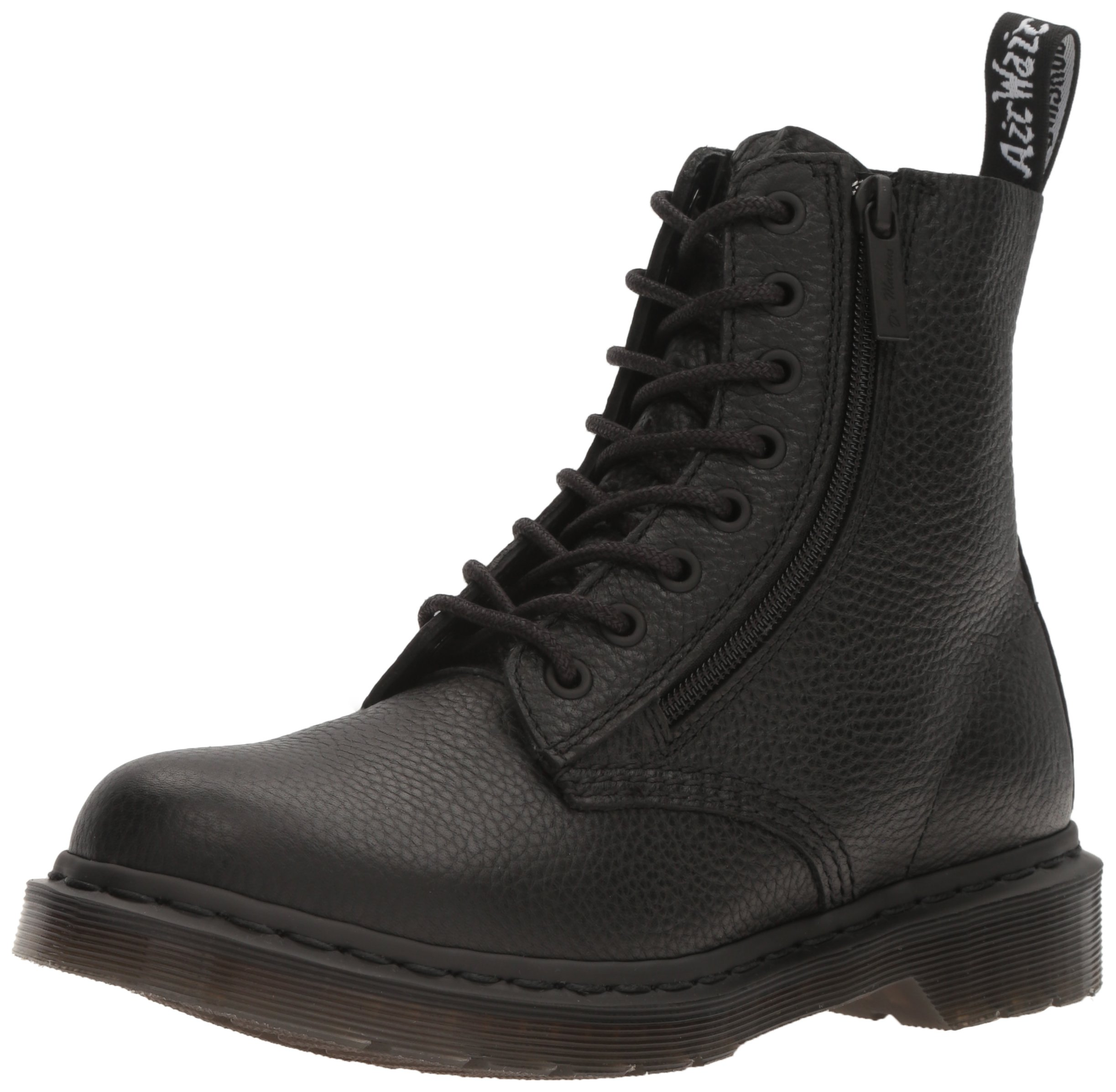 Dr. Martens Women's Pascal W/Zip Combat Boot, Black, 6 UK/8 M US