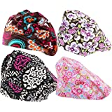 kilofly 4pc Women's Adjustable Scrub Cap Sweatband Bouffant Hats Value Set