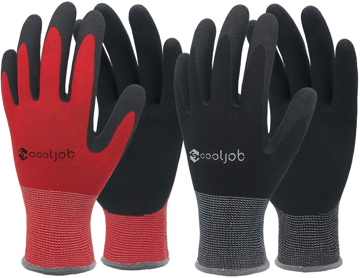 Black /& Red Men/'s Medium Size Fits Most 6 Pairs breathable Rubber Coated Garden Gloves COOLJOB Gardening Gloves for Men Work Gloves for Men Half Dozen M