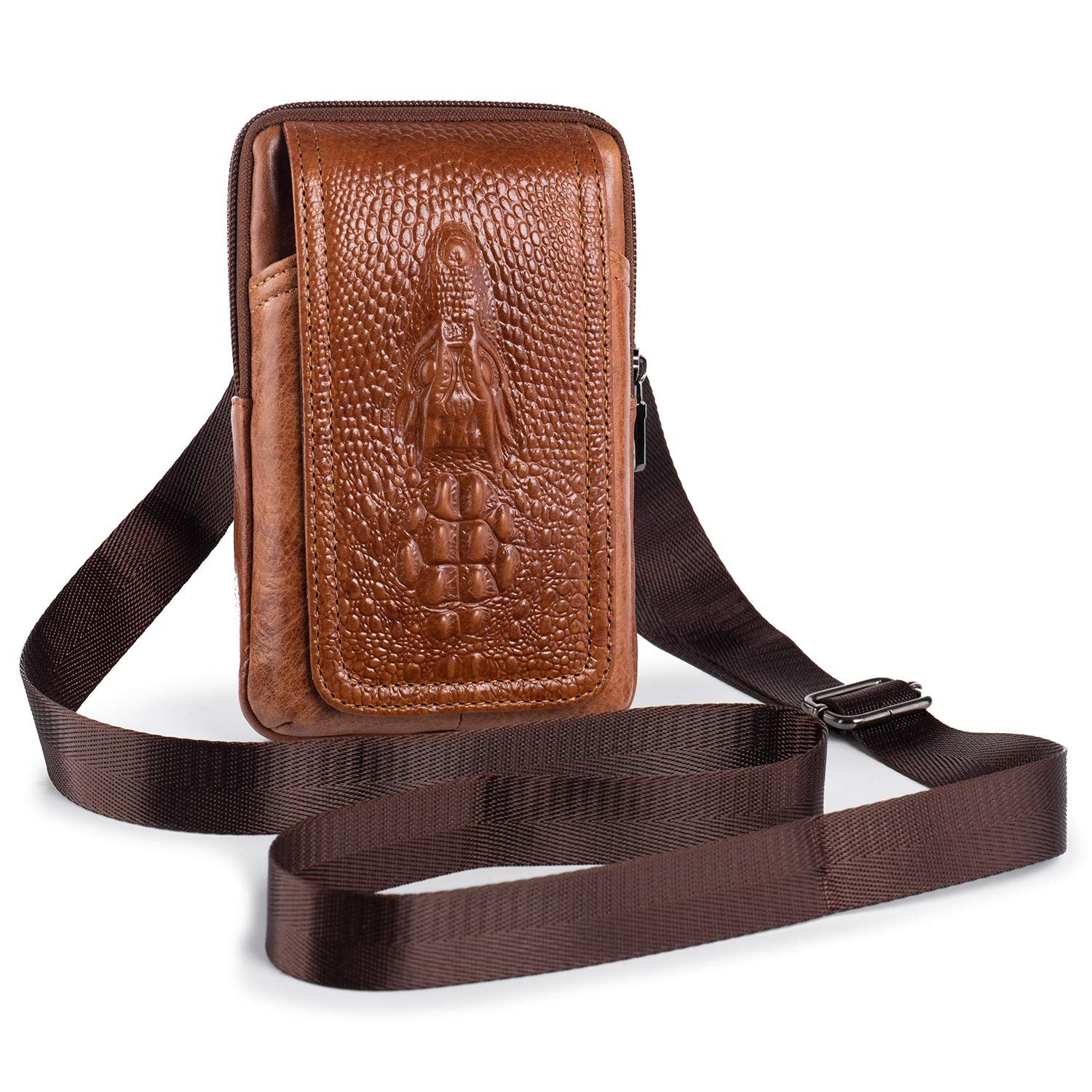 Hengwin Leather Men Leather Shoulder Bag Small Cross body Bags, Cellphone Holster Waist Bag Pouch Belt Clip for iPhone XR XS Max 6 7 8 Plus Galaxy S8/S9 Plus (Brown)