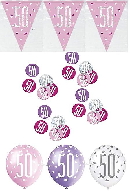 Unique bpwfa-4179 Glitz 50th cumpleaños Pancarta Kit de ...