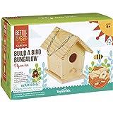 "Toysmith Beetle & Bee Build A Bird Bungalow - DIY Kid Art Craft Outdoor Birdhouse Kit, 6"" x 4"" x 6"", Hardware & glue included"