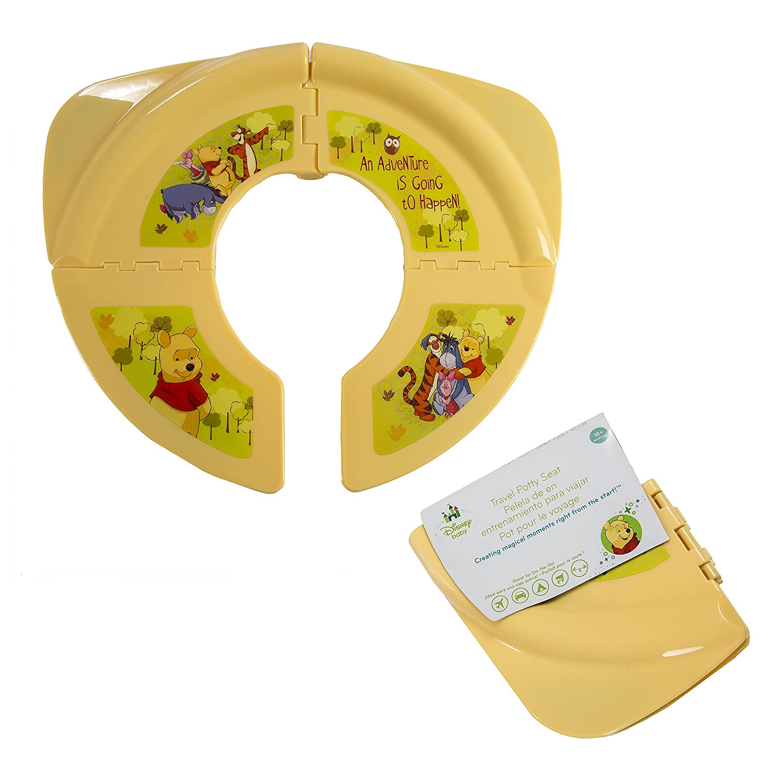 Amazon.com : Disney Winnie-the-Pooh Folding Potty Seat - For Standard Toilets - Regular For Home or Travel Use - 18 Plus Months - Yellow - Comes With ...